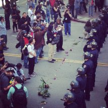 Oakland Flowers in front of police