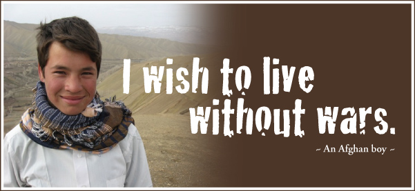 'I wish to live without wars', an Afghan boy