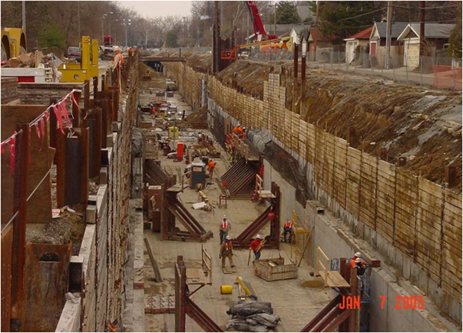 Photo: Shallow Tunnel construction, St. Louis MO, 1/7/2005