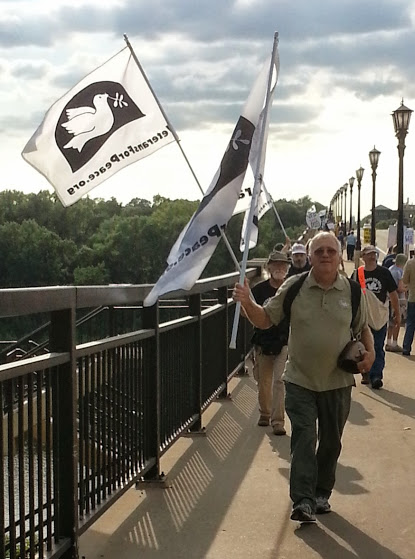At the Lake Street/Marshall Avenue Peace Bridge today with Veterans for Peace, Chapter 27