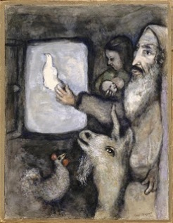 Marc Chagall, Noah lets go the dove through the window of the Ark (Genesis VIII, 6 9)