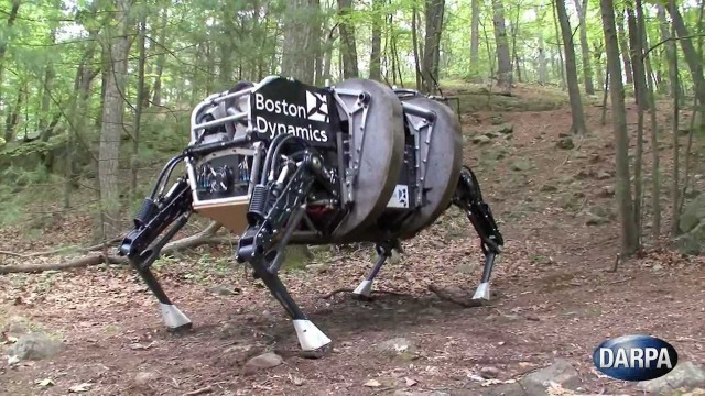 Something that nightmares are made of. BigDog, a rough-terrain robot that walks, runs, climbs, and carries heavy loads. BigDog is the size of a large dog or small mule; about 3 feet long, 2.5 feet tall and weighs 240 pounds. It was developed by Boston Dynamics with DARPA, as part of a robotic collaboration with the U.S. Army Research Laboratory. Photo: DARPA
