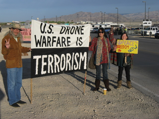 Activists protesting armed drones arrested at Creech Air Force Base. Photo: Nevada Desert Experience