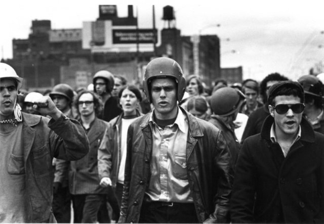 John Jacobs (l) and Terry Robbins (r) at the Days of Rage, Chicago, October 1969. Photo: David Fenton / ITVS. THE WEATHER UNDERGROUND by Sam Green and Bill Siegel