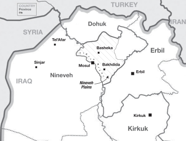 "The Mosul area and areas to the east in Iraq's Nineveh Plains some of the seven women mention, as well as Erbil (also spelled ""Arbil"") and Kirkuk where they moved. In late July, U.S. coalition forces with regional militia pursued ISIS to the west and again civilians suffered. Map: Kristin Dooley, Wikilpedia."