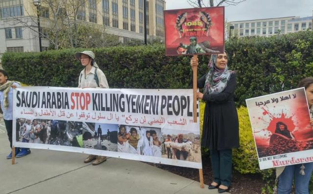 On April 5, 2018 people protested the Saudi Arabian war that is devastating Yemen as Crown Prince Mohammad in Salman came to make deals with Silicon Valley tech titans. Trump signed off on weapons sales to Saudi Arabia the same day.