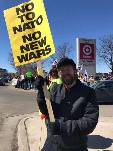No to NATO, Hands Off Venezuela Rally and Bannering, Minneapolis MN March 30, 2019
