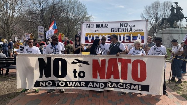 No To NATO, No to War and Racism, Hands Off Venezuela March, Washington DC March 30, 2019 Photo Twitter/Dan Cohen
