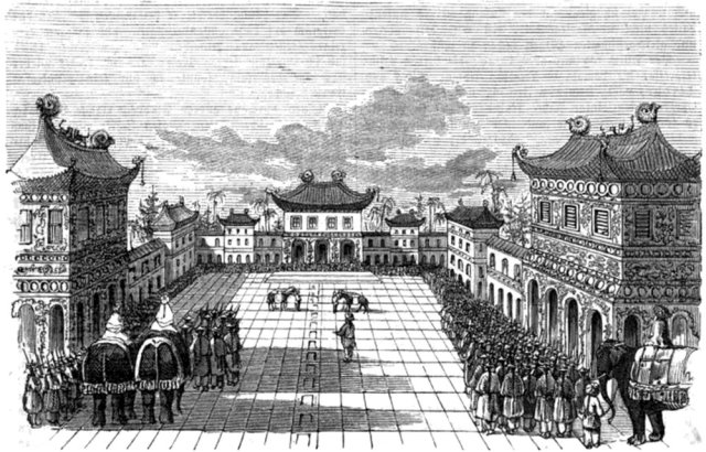 German illustration. Part of the Forbidden City, seat of imperial Chinese families and officials from 1420 to 1912. European travelers were astonished to discover the sophistication of China's civilization.