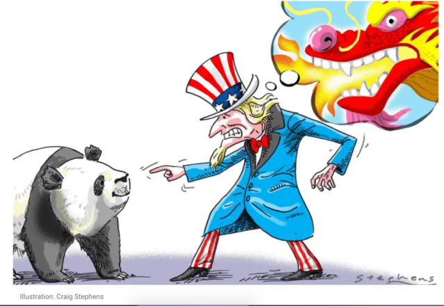 The U.S . is mocked for an exaggerated fear of China while it pokes the bear. Cartoon: Craig Stephens/ South China Morning Post