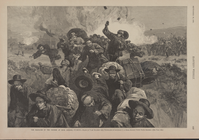 In 1885, Chinese laborers were massacred in brutal and sadistic ways at Rock Springs, Wyoming. Harpers Weekly illustration.